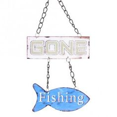 """Gone Fishing Sign  Let your mates, or significant other know you've gone fishing with this awesome metal sign. The chain drops down to the first rectangular part which states """"Gone"""", then the chain carries on down to a little blue fish that has """"Fishing"""" on it."""