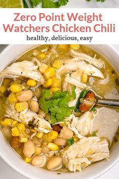 The easiest Zero Point Weight Watchers White Chicken Chili made with chicken bre. The easiest Zero Point Weight Watchers White Chicken Chili made with chicken breast, beans, corn, a Plats Weight Watchers, Weight Watchers Soup, Weight Watcher Dinners, Weight Watchers Lunches, Weight Watchers Recipes With Smartpoints, Weight Watcher Recipes, Weight Loss Soup, Weight Watchers Points, Weight Watchers Chicken Stew Recipe