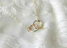 Linked circle necklace in gold vow modern door LemonSweetJewelry, $25.00