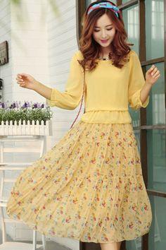3/4 Sleeve Floral Chiffon Dress OASAP.com