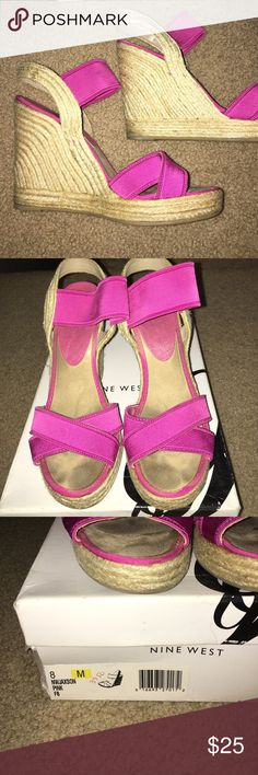 Hot pink elastic espadrille wedges Gently worn. Comes with original box Nine West Shoes Wedges