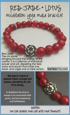 MANTRA: You can change your life with your thoughts. - 8mm Faceted Red Jade Natural Gemstones - Tibetan Silver Lotus Flower Talisman - Commercial Strength, Latex-Free Elastic Band - Artisan Crafted in