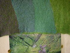 Liz Clay Nuno felted samples - pre-felt with dyed silk chiffon layers. Felting workshop at West Dean, August 2013.