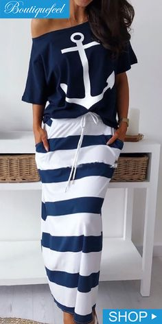 Boat Anchor Print T-Shirt & Striped Skirt Sets - Mode für frauen - Outfits Trend Fashion, Womens Fashion, Bohemian Fashion, Fall Fashion, Latest Fashion, Style Fashion, Mode Outfits, Fashion Outfits, Grunge Outfits