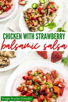 Chicken with Strawberry Balsalmic Salsa is an elegant, healthy and amazing dinner. This bright and colorful grilled chicken recipe will become a favorite. Real Food Recipes, Chicken Recipes, Cooking Recipes, Sweets Recipes, Snack Recipes, Snacks, Healthy Dips, Healthy Recipes, Appetizer Recipes