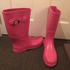Pink Rain Boots Brand new, never been worn! Pink rubber rain boots - perfect for snow too!  Mossimo Supply Co. Shoes Winter & Rain Boots