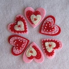 Items similar to Red Cream Pink Valentine Hearts on Etsy - Basteln Valentines Day Hearts, Valentine Day Crafts, Valentine Heart, Felt Decorations, Valentine Decorations, Fabric Crafts, Sewing Crafts, Felt Embroidery, Heart Crafts