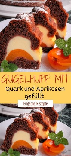 Gugelhupf mit Quark und Aprikosen gefüllt Ingredients for the filling: 500 g curd cheese 1 egg yolk 4 icing sugar 4 icing whipped cream 1 pck. Pudding powder with vanilla flavor 1 canned apricots for the dough: German Desserts, Chocolate Desserts, Sweet Recipes, Cake Recipes, Dessert Recipes, Apricot Dessert, Vanilla Flavoring, Healthy Foods To Eat, Cakes And More