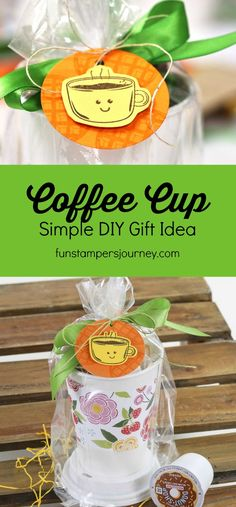 Such a sweet and simple gift idea - create a patterned paper band for a disposable coffee cup. Then fill the cup with breakfast goodies, like granola or breakfast bars, plus a K Cup. Wrap it up in cellophane as a perfect gift for a teacher, coworker, neighbor or friend! #funstampersjourney #certifiedcelebrator