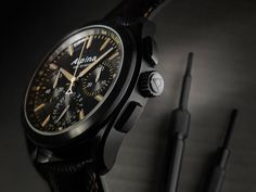 "A fine example is their new ""full black"" Alpiner 4 Black Flyback Manufacture Chronograph Casual Watches, Watches For Men, Men's Watches, Alpina Watches, Watch Blog, Baume Mercier, Mechanical Watch, Luxury Watches, Omega Watch"