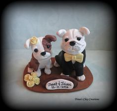 Bulldog Wedding Cake Topper by Trina's Clay Creations