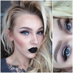 black lipstick paired with soft eyes & mink lashes