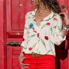 Women Blouses 2019 Fashion Long Sleeve Turn Down Collar Office Shirt Chiffon Blouse Shirt Casual Tops Plus Size Blusas Femininas Chiffon Shirt, Chiffon Tops, Casual Tops, Work Casual, Casual Shirts, Blouses For Women, Ladies Blouses, Ladies Shirts, Ladies Tops