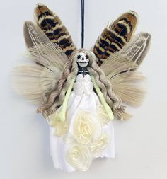 Holiday decor fairy ornament handmade Christmas by Skullbag