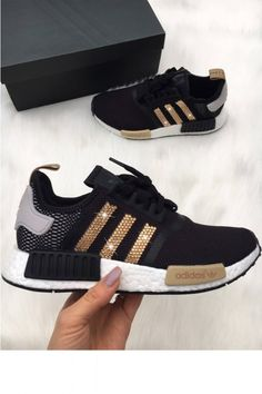 huge selection of 28fcb d0aa3 Cheap Adidas NMD Womens Black Trainers With Gold Swarovski Crystals