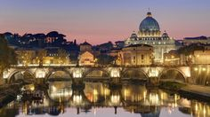 01 Dec 2011, Vatican City, Rome, Italy --- Italy, Lazio, Rome, historical center lited as World Heritage by UNESCO, Sant' Angelo bridge (Sant' Angelo ponte) above Tiber river and Saint Peter's basilica --- Image by © Arnaud Chicurel/Hemis/Corbis