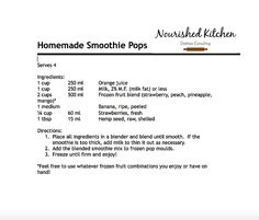 Homemade Smoothie Pops | Nourished Kitchen Dietitian Consulting