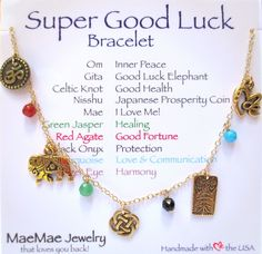 MaeMae's famous Super Good Luck bracelet makes any wrist feel special. With 5 good luck charms from around the world and 5 energy healing stones we couldn't just call this bracelet. Jewelry For Her, Dainty Jewelry, Good Luck Bracelet, Affirmation Cards, Spiritual Jewelry, Red Agate, Beautiful Gift Boxes, Lucky Charm, Celtic Knot