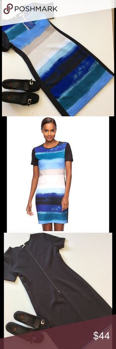"""Reed Stripe Fitted Dress NWT This gorgeous dress is part of the Reed Limited Edition Collection CFDA collection. Beautiful shades of blue & beige on a black background. Shoes listed separately  Measurements:bust 34"""" waist 30"""" hip 34"""" length from shoulder 35"""". Has stretch Fabric: 92% polyester 8% spandex Machine wash Condition: NWT Bundle discount  ⭐️5 star rated Suggested User Smoke free home I don't trade  Thank you for shopping with me. Please feel free to ask questions Reed  Dresses"""
