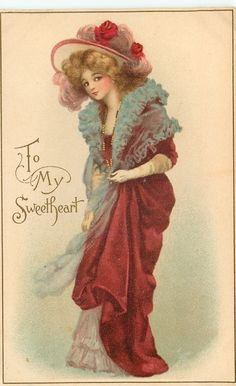 TO MY SWEETHEART  girl in red, blue throw