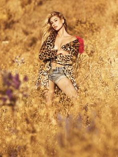 Hailey Baldwin embraces leopard print for Guess Jeans fall-winter 2016 campaign