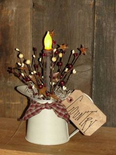 Primitive Craft Ideas | Primitive Craft Ideas / Small Primitive Water Can Tin Light