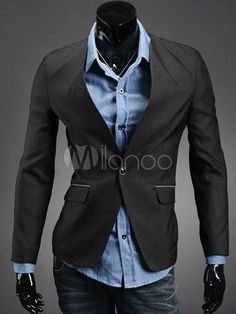 Shaping Black Cotton Man's Casual Suits