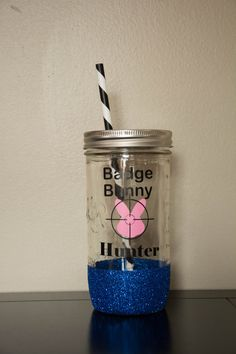 Badge Bunny Hunter Mason Jar Tumbler Dipped by SillyGeeseBoutique  badge bunny, leo wife, police wife