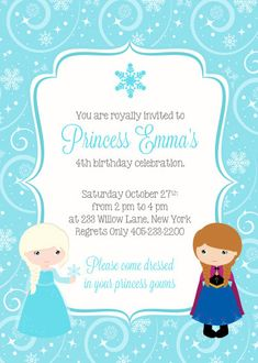 Frozen inspired birthday Party Invitation - Printable Invitation HOW TO ORDER In the Note to Seller portion of your order please include