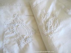 Stunning Antique French Beautiful Hand Embroidered Pure Linen Oxford Style Pillowcase PL or LP Monogram by FatiguedFrenchFinds, $55.00