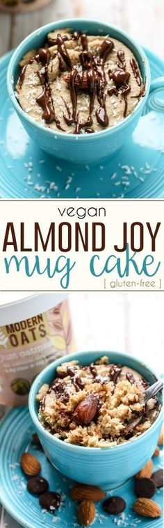 This oatmeal Almond Joy Mug Cake made with almond butter and gluten-free oats can be a delicious breakfast or a healthier dessert, you decide! Refined sugar-free and vegan-friendly. (Vegan Chocolate Mug) Brownie Desserts, Oreo Dessert, Mini Desserts, Coconut Dessert, Healthy Vegan Dessert, Vegan Dessert Recipes, Vegan Treats, Healthy Sweets, Gluten Free Desserts