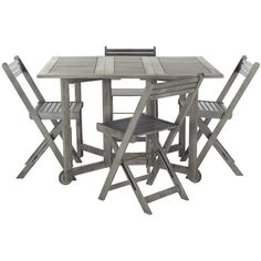 An Ingenious Space Saver, Arvin Outdoor Dining Table And Chair Set Is  Designed For Gracious