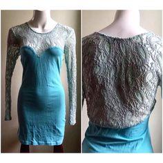 "Motel Rocks Sz L Turquoise Lace Mini Bodycon Dress Company: Motel Rocks Sz: Large Stretchy bodycon. Worn once   95% cotton, 5% elastane  Chest: 14.5"" (stretches to 20"") Sleeve: 26"" Shoulder to hem length: 33"" Motel Rocks Dresses Mini"