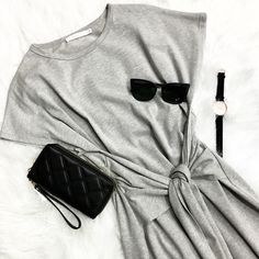 Shades of Grey 🙌 •••So excited for our SPRING arrivals!! Sporty & Chic Basic front tie dress •Clutch ($33) •Watch ($36) •Sunglasses ($12) .