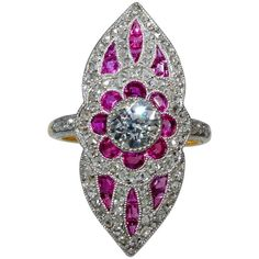 Antique Belle Epoque French ruby diamond gold platinum ring | From a unique collection of vintage cluster rings at https://www.1stdibs.com/jewelry/rings/cluster-rings/
