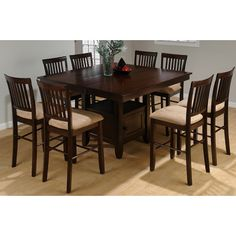 Jofran Mid-Town Counter Height Dining Table - I like the idea of a square table that seats 8