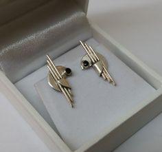 Vintage Ohrstecker - Ohrringe Ohrstecker Silber 925 Onyx Design SO159 - ein Designerstück von Atelier-Regina bei DaWanda