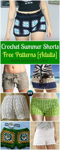 Collection of Crochet Summer Shorts & Pants Free Patterns Adult Size: granny square shorts, pineapple shorts, Lace Shorts via (Diy Clothes Pants) Crochet Skirts, Crochet Clothes, Diy Clothes, Summer Clothes, Sewing Clothes, Free Clothes, Point Granny Au Crochet, Granny Square Crochet Pattern, Crochet Squares