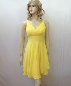 Yellow Bridesmaid Dress. Chiffon Dress by lisaclothing on Etsy