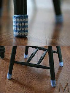 Chair Socks pattern by Casey Downing Chair Socks, because the felt pads keep coming off!Chair Socks, because the felt pads keep coming off! Knitting Projects, Crochet Projects, Sewing Projects, Diy Projects, Knitting Ideas, Yarn Crafts, Diy Crafts, Chair Socks, Striped Chair