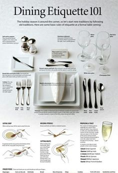 I love this little cheat sheet for your formal dinner party.   via