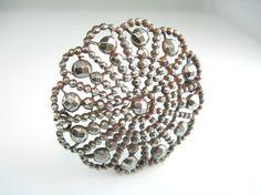 Victorian Brooch Antique Cut Steel Jewelry Wheel Shape Scalloped Edge Shimmering 1800's Pin