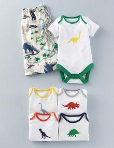 Dinosaur Logo 5 Pack Body Suits 71489 Essentials at Boden