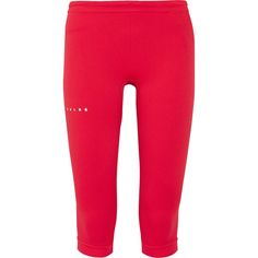FALKE Ergonomic Sport System - Cropped Stretch-jersey Leggings ($59) ❤ liked on Polyvore featuring red, stretch jersey and falke