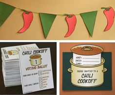 Planning a Chili Cookoff event and need help getting it organized? Our collection of printable templates will help you create the invitations and decorations, AND get a grip on the voting system! Full instructions are included for everything.  With our 61-page PDF file and accompanying Word (.doc) file, youll get printable templates and full-color instructions to help you make:  -- Customizable Chili Cookoff invitations (in Word 2003 & Word 2007 formats) -- Pre-formatted voting ballots…