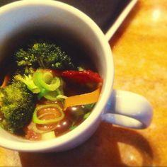 Amuse Bouche Wednesday: duck in duck broth with seasonal veggies