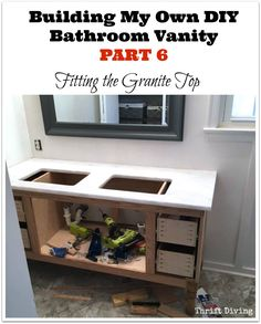 Building a DIY Bathroom Vanity - Part 6 - Fitting the Granite Top - See the whole series! Thrift Diving Blog