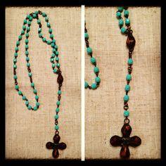 Custom Rosary using my vintage cross and teardrop.