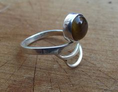 925 sterling silver ring tigers eye stone di silveringjewelry