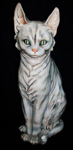 "Antique Italy Italian Guido Cacciapuoti Huge Gorgeous Cat Porcelain Figurine Measures 14"" tall X 8"" wide x 6"" deep|Measures 14"" tall X 8"" wide x 6"" deep eBay"
